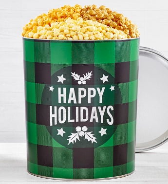Very Merry Plaid Happy Holidays Popcorn Tins