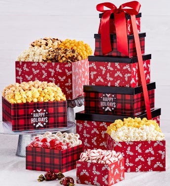 Very Merry Plaid Happy Holidays 5-Tier Tower